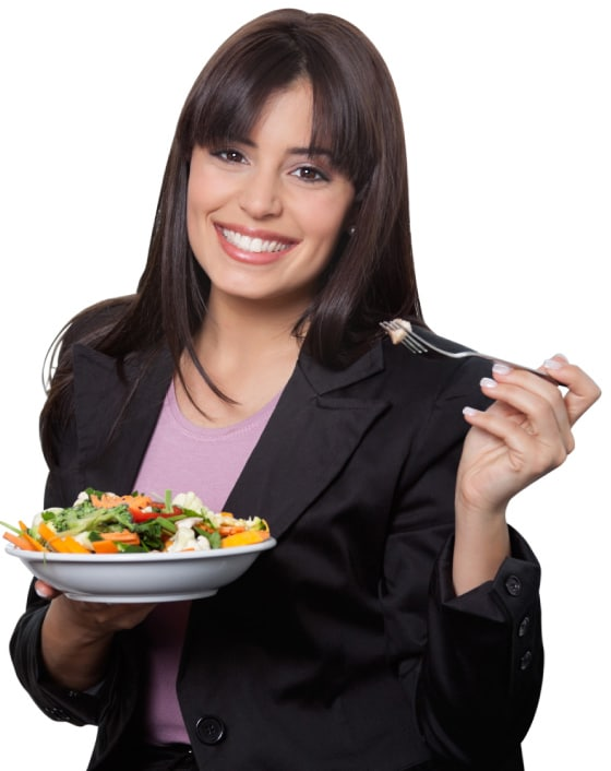 corporate health woman eating a healthy meal